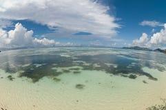 vista dell'Pesce-occhio della scogliera sulle Seychelles Immagini Stock Libere da Diritti