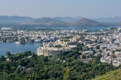 Vista dell'uccello-occhio della città di Udaipur Fotografia Stock
