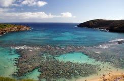 Vista della baia dell'Hawai Hanauma Fotografia Stock Libera da Diritti