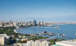 Vista della baia di Bacu l'azerbaijan fotografie stock libere da diritti
