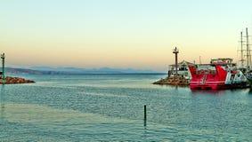 Vista della baia di Eilat con gli yacht fotografia stock