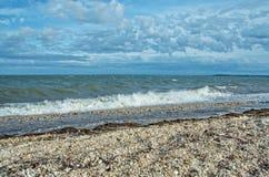 Vista della baia di Gardiners dal parco di stato della spiaggia di Oriente, Long Island, fotografia stock
