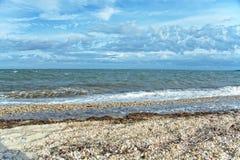 Vista della baia di Gardiners dal parco di stato della spiaggia di Oriente, Long Island, immagini stock libere da diritti
