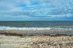 Vista della baia di Gardiners dal parco di stato della spiaggia di Oriente, Long Island, fotografia stock libera da diritti