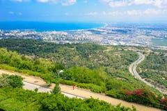 Vista della baia di Haifa Immagini Stock Libere da Diritti