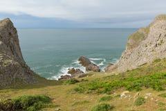 Vista della baia di Mewslade con le pecore la costa Galles di Gower Fotografia Stock