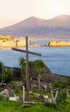 Vista della baia di Napoli con Vesuvio Fotografia Stock