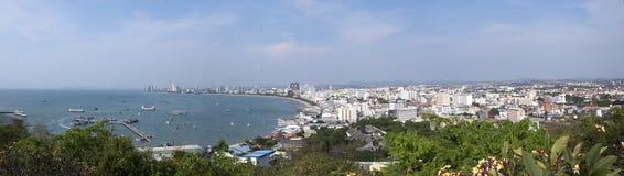 Vista della baia e della città Pattaya, Tailandia Fotografia Stock