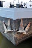 Vista della barca con l'ancora Fotografia Stock Libera da Diritti