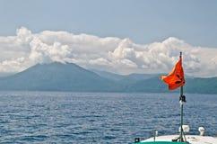 Vista della barca del lago Toya, Hokkaido, Giappone Fotografia Stock