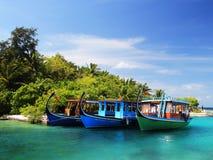Vista della barca delle Maldive immagine stock