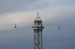 Vista della cabina di funivia di Barcellona. Immagini Stock Libere da Diritti