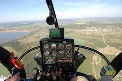Vista della cabina di guida dell'elicottero Immagini Stock Libere da Diritti