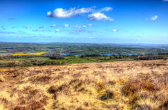 Vista della campagna di Somerset giù dalle colline nere di Mendip in HDR colourful Fotografie Stock