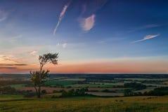 Vista della campagna di tramonto Fotografia Stock