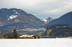 Vista della campagna in Svizzera innevata Fotografia Stock Libera da Diritti
