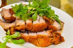Vista della carne di maiale arrostita di stile cinese fotografie stock