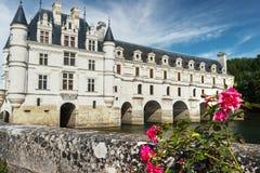 Vista della cartolina del castello di Chenonceau con le rose sul foregro Immagini Stock