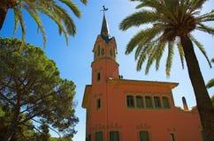 Vista della casa del Gaudi in sosta Guell Fotografie Stock Libere da Diritti