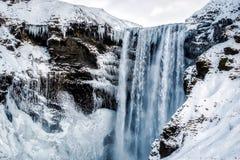 Vista della cascata di Skogafoss Immagini Stock