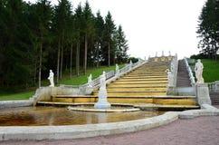 Vista della cascata dorata - punti di riferimento di St Petersburg Immagine Stock