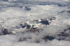 Vista della catena montuosa dell'Himalaya dalla finestra dell'aeroplano Volo nuovo di Delhi-Leh, India Fotografia Stock Libera da Diritti
