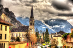 Vista della cattedrale del fiorino della st a Vaduz Immagine Stock Libera da Diritti