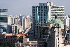 Vista della cattedrale del Se in San Paolo del centro, Brasile Immagine Stock Libera da Diritti