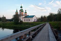 Vista della cattedrale della nostra signora di Smolensk nella repubblica Carelia, Russia di Olonets Fotografia Stock