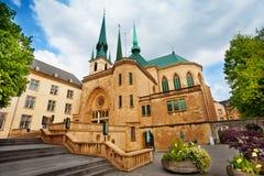 Vista della cattedrale di Notre-Dame a Lussemburgo Fotografie Stock Libere da Diritti