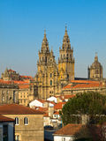 Vista della cattedrale di Obradoiro Santiago de Compostela Fotografie Stock Libere da Diritti