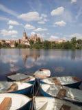 Vista della cattedrale di Tormes Salamanca del fiume, Spagna fotografia stock