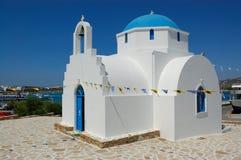 Vista della chiesa dell'isola di Antiparos immagine stock