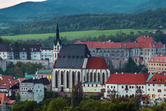 Vista della chiesa della st Vitus, Cesky Krumlov Immagine Stock Libera da Diritti
