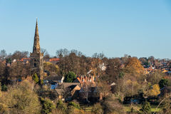 Vista della chiesa di Lanscape della campagna nel Regno Unito Fotografie Stock Libere da Diritti
