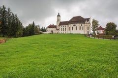 Vista della chiesa di pellegrinaggio di Wies Fotografia Stock