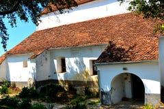 Vista della chiesa evanghelic del sassone anziano in Halmeag la Transilvania Fotografia Stock Libera da Diritti