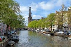 Vista della chiesa occidentale a Amsterdam fotografia stock