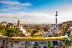 Vista della cima della chiesa di stile di Gaudi Fotografia Stock Libera da Diritti