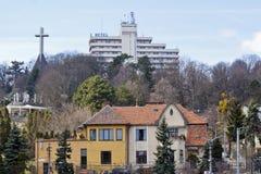 Vista della città al belvedere dell'hotel, Cluj-Napoca, Romania immagine stock libera da diritti