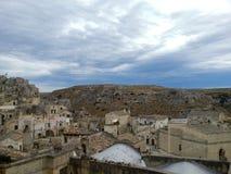 Vista della città antica di Matera, Basilicata, Italia fotografie stock libere da diritti