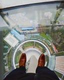 Vista della città attraverso il pavimento orientale della torre della perla immagine stock libera da diritti