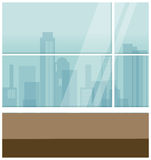 Vista della città attraverso la finestra illustrazione di stock