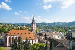 Vista della città Baden-Baden con la chiesa collegiale Immagini Stock Libere da Diritti