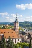 Vista della città Baden-Baden con la chiesa collegiale Immagini Stock