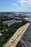 Vista della città costiera Fotografia Stock