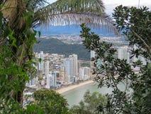 Vista della città dal mare con gli alberi nella priorità alta Fotografia Stock