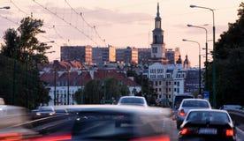 Vista della città dal ponte di Chrobry in Pozna Fotografie Stock Libere da Diritti