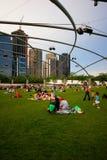 Vista della città del Chicago dalla sosta di millennio Fotografia Stock Libera da Diritti