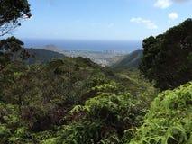 Vista della città del cratere di Ka'au fotografia stock